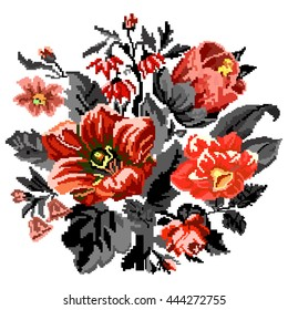 Color bouquet of wildflowers (lilia, bellflower, barberry flower and cornflowers)  using traditional Ukrainian embroidery elements. Can be used as pixel-art.  Red, orange and black tones.