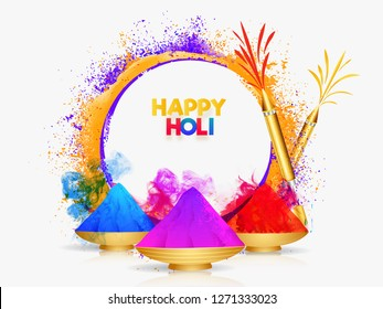 Color bowls with realistic color guns on white color splash background for Happy holi festival greeting card design.