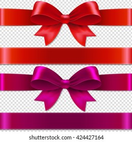 Color Bows Isolated Isolated on Transparent Background, With Gradient Mesh, Vector Illustration