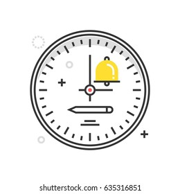 Color box clock icon, background and graphics. The illustration is colorful, flat, vector, pixel perfect, suitable for web and print. It is linear stokes and fills.