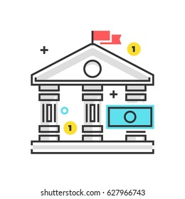 Color box icon, bank law illustration, icon, background and graphics. The illustration is colorful, flat, vector, pixel perfect, suitable for web and print. It is linear stokes and fills.