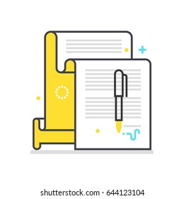 Color box icon, contract illustration, icon, background and graphics. The illustration is colorful, flat, vector, pixel perfect, suitable for web and print. It is linear stokes and fills.