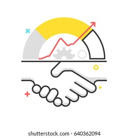 Color box icon, handshake illustration, icon, background, and graphics. The illustration is colorful, flat, vector, pixel perfect, suitable for web and print. It is linear strokes and fills.