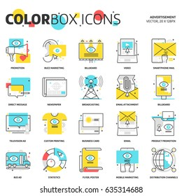 Color box icons, advertisement, backgrounds and graphics. The illustration is colorful, flat, vector, pixel perfect, suitable for web and print. Linear stokes and fills.