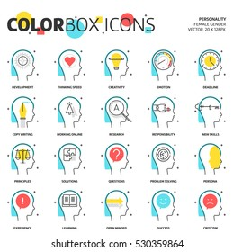 Color box icons, business and personality  illustrations, icons, backgrounds and graphics. The illustration is colorful, flat, vector, pixel perfect for web and print. It is linear stokes and fills.