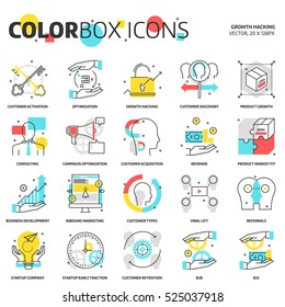 Color box icons, growth hacking concept illustrations, icons, backgrounds and graphics. The illustration is colorful, flat, vector, pixel perfect for web and print. It is linear stokes and fills.