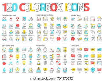 Color box icons, illustrations, icons, backgrounds and graphics. The illustration is colorful, flat, vector, pixel perfect, suitable for web and print. It is linear stokes and fills.