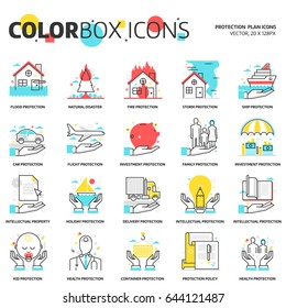 Color box icons, protection backgrounds and graphics. The illustration is colorful, flat, vector, pixel perfect, suitable for web and print. Linear stokes and fills.