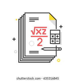 Color box mathematics icon, background and graphics. The illustration is colorful, flat, vector, pixel perfect, suitable for web and print. It is linear stokes and fills.
