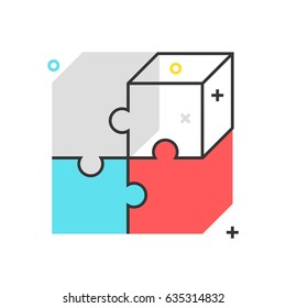 Color box puzzle icon, background and graphics. The illustration is colorful, flat, vector, pixel perfect, suitable for web and print. It is linear stokes and fills.