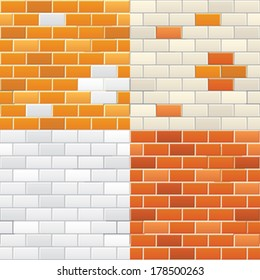 Color brick wall textures collection in vector. White, Beige and Classic Orange Brick Wall