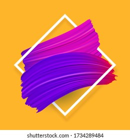 Color, brush, brushstroke in the frame for text, oil smear or acrylic paint design element. Vector illustration
