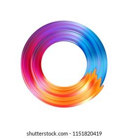 Color brushstroke oil or acrylic paint design element. Vector illustration EPS10