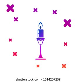 Color Burning candle in candlestick icon isolated on white background. Old fashioned lit candle. Cylindrical candle stick with burning flame. Gradient random dynamic shapes. Vector Illustration