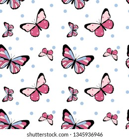 color butterfly polka pattern girl tee illustration art vector