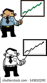 Color and BW cartoon business man with a good report - Vector clip art illustration on white
