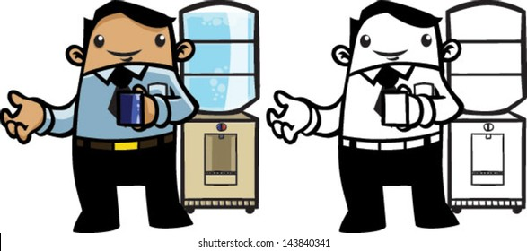 Color and BW cartoon business man by water cooler - Vector clip art illustration on white and on separate layers