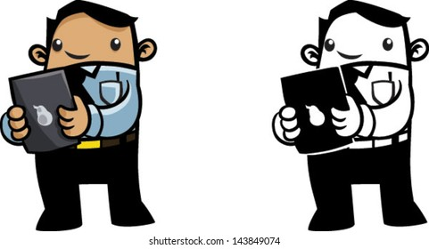 Color and BW cartoon business man with computer tablet - Vector clip art illustration on white