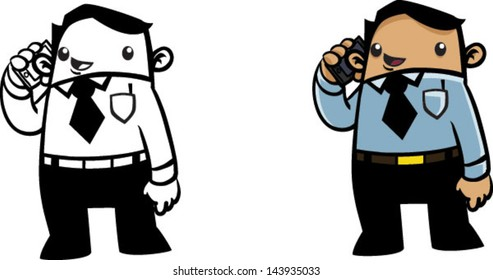Color and BW cartoon business man talking on phone - Vector clip art illustration on white