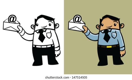 Color and BW cartoon business man holding an email - Vector clip art illustration