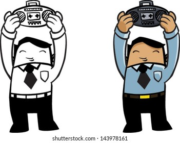 Color and BW cartoon man holding up radio - Vector clip art illustration on white