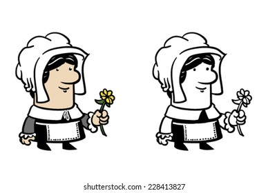 Color and BW female pilgrim - Vector clip art illustration on white and on separate layers