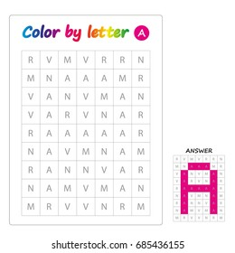 Color by letters. Learning alphabet, letters. worksheet for preschool children, kids. ABC Coloring Book for children. Puzzle for children. Letter A.