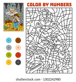 Color by number, education game for children. Fairy tales. Aladdin and the genie in the treasure cave