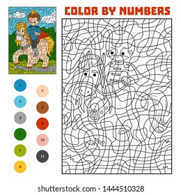 Color by number, education game for children, Prince on horse