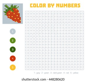 Color by number, education game for children. Fruits and vegetables, strawberry. Coloring book with numbered squares