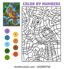 Color by number, education game for children, Parrot