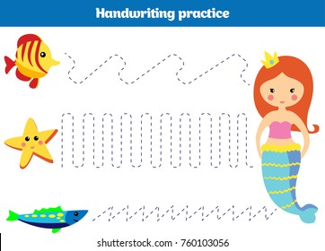 Color by number, education game for children. Coloring page, drawing kids activity mermaid design. Theme mermaid sea, ocean, fish. Vector illustration