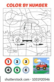 Color by Number is an educational game for children. Vintage Red Car.