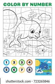Color by number - educational game for kids. Cute Cartoon Dolphin Jumps Out of the Ocean EPS10