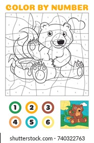 Color by number - educational game for kids. Cute Cartoon Bear with a Honeypot Vector EPS10