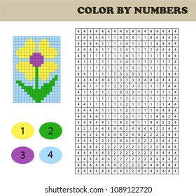 Color by numbers, education game for children. Coloring book with numbered squares. Drawing kids activity. Flower.