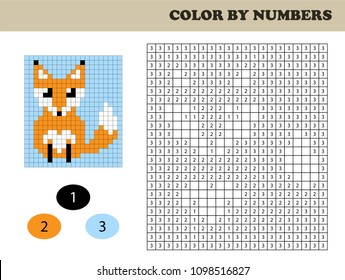 Color by numbers, education game for children. Coloring book with numbered squares. Drawing kids activity. Fox.