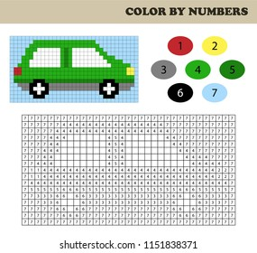 Color by numbers, education game for children. Coloring book with numbered squares. Drawing kids activity. Car.