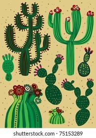 a color cactus set