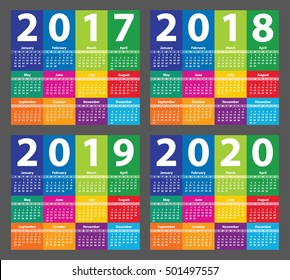 Color Calendar 2017 starting from Sunday. Vector illustration
