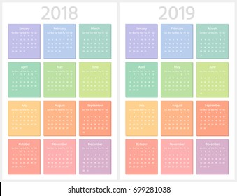 Color calendar for 2018, 2019 years. Week starts from Sunday. Sans serif font