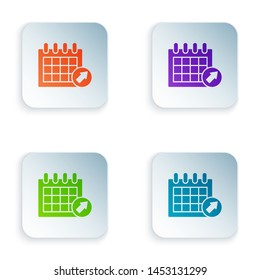 Color Calendar icon isolated on white background. Event reminder symbol. Set icons in colorful square buttons. Vector Illustration