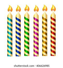 Color candles with flame for birthday cake. Isolated objects. Vector Illustration