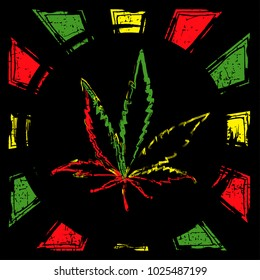 color cannabis leaf on grunge rastafarian background.