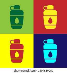 Color Canteen water bottle icon isolated on color background. Tourist flask icon. Jar of water use in the campaign.  Vector Illustration