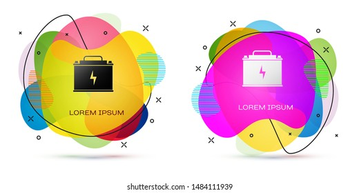 Color Car battery icon isolated on white background. Accumulator battery energy power and electricity accumulator battery. Lightning bolt. Abstract banner with liquid shapes. Vector Illustration