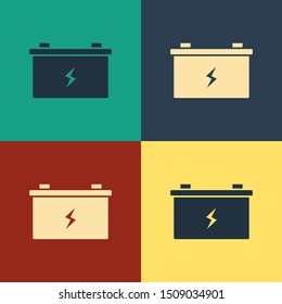 Color Car battery icon isolated on color background. Accumulator battery energy power and electricity accumulator battery. Vintage style drawing. Vector Illustration