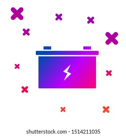 Color Car battery icon isolated on white background. Accumulator battery energy power and electricity accumulator battery. Gradient random dynamic shapes. Vector Illustration
