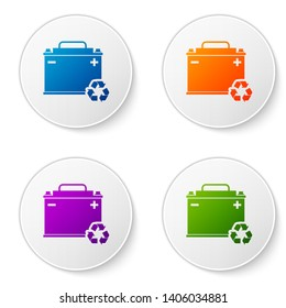 Color Car battery with recycle icon isolated on white background. Accumulator battery energy power and electricity accumulator battery. Set icons in circle buttons. Vector Illustration