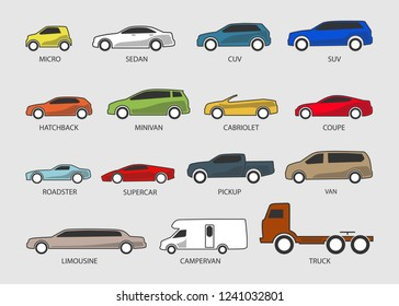 Color Car Type and Model Objects icons Set . Vector illustration isolated on white background with shadow. Variants of automobile body, car silhouette for web, template.